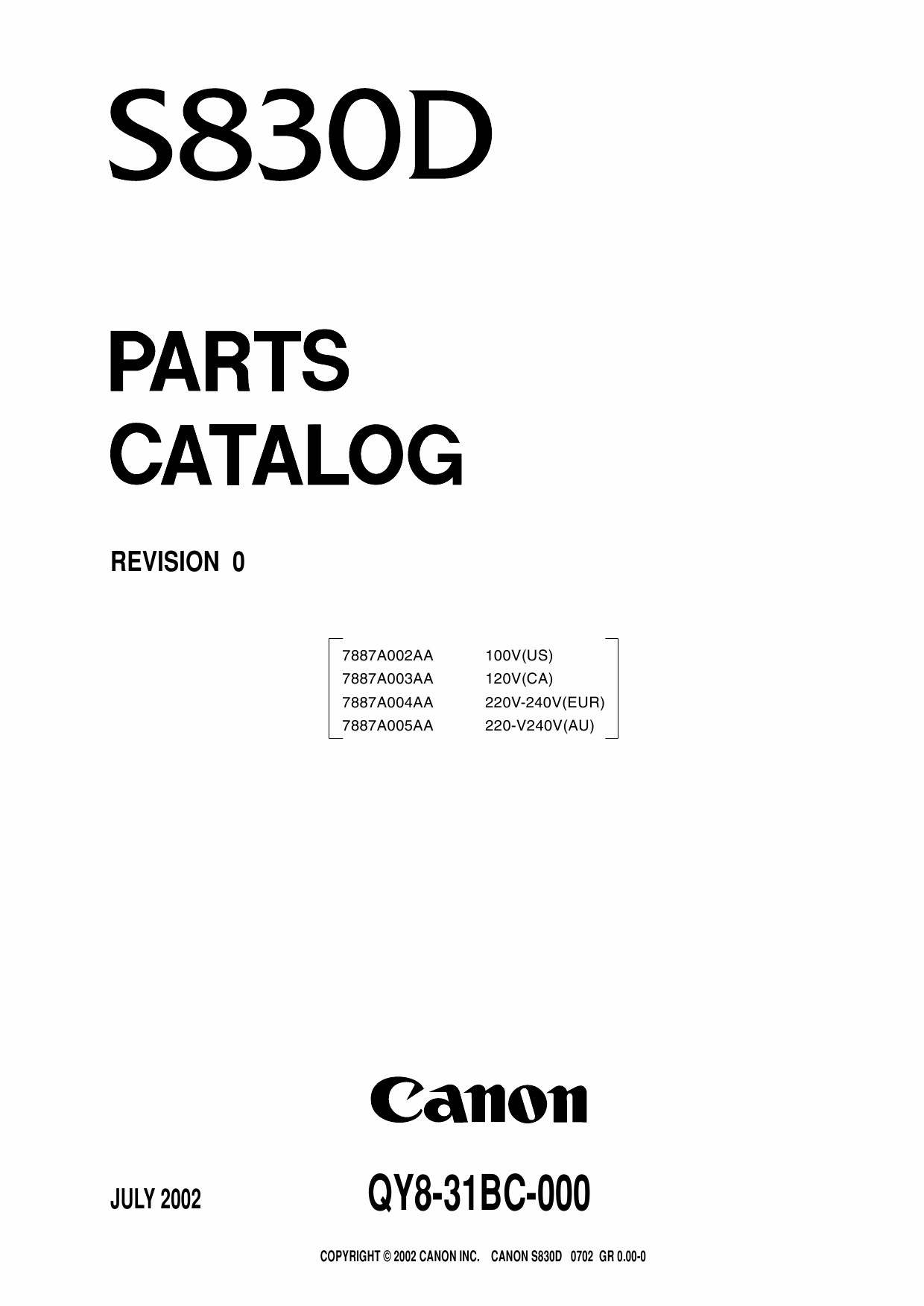 Canon PIXUS S830D Parts Catalog Manual